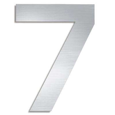 5.9 in. Brushed Stainless Steel Mounted House Number 7