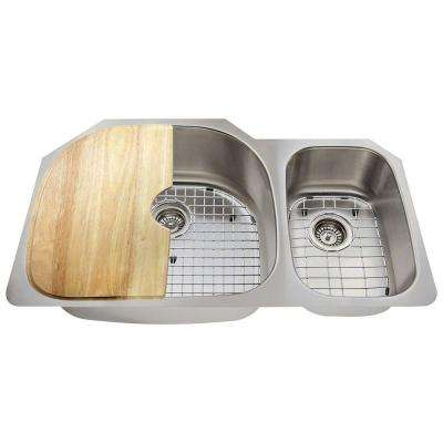 All-in-One Undermount Stainless Steel 35 in. Left Double Bowl Kitchen Sink