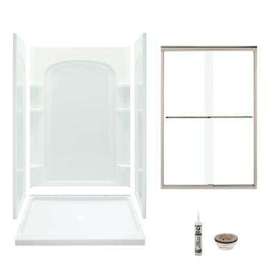 Ensemble 34 in. x 48 in. x 75.75 in. Center Drain and Backers Alcove Shower Kit in White and Brushed Nickel