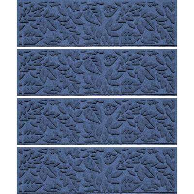Navy 8.5 in. x 30 in. Fall Day Stair Tread Cover (Set of 4)
