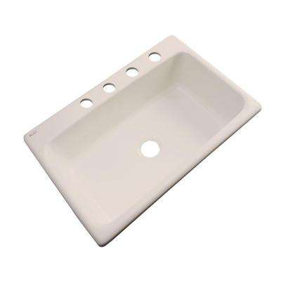 Manhattan Drop-In Acrylic 33 in. 4-Hole Single Bowl Kitchen Sink in Candlelyght