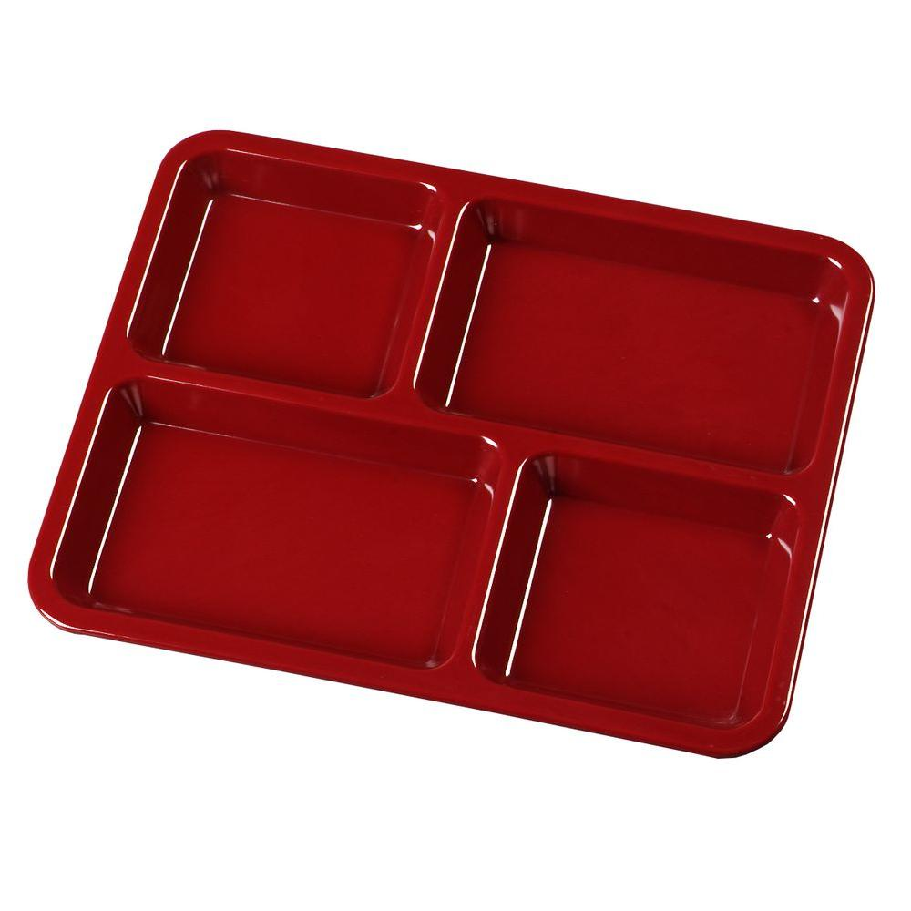8.67 in. x 10.95 in. Omnidirectional Melamine 4-Compartment Lunch Tray in