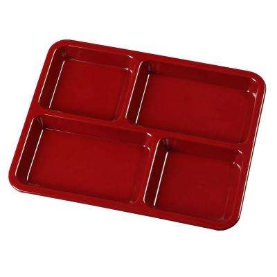 8.67 in. x 10.95 in. Omnidirectional Melamine 4-Compartment Lunch Tray in Dark Cranberry (Case of 12)