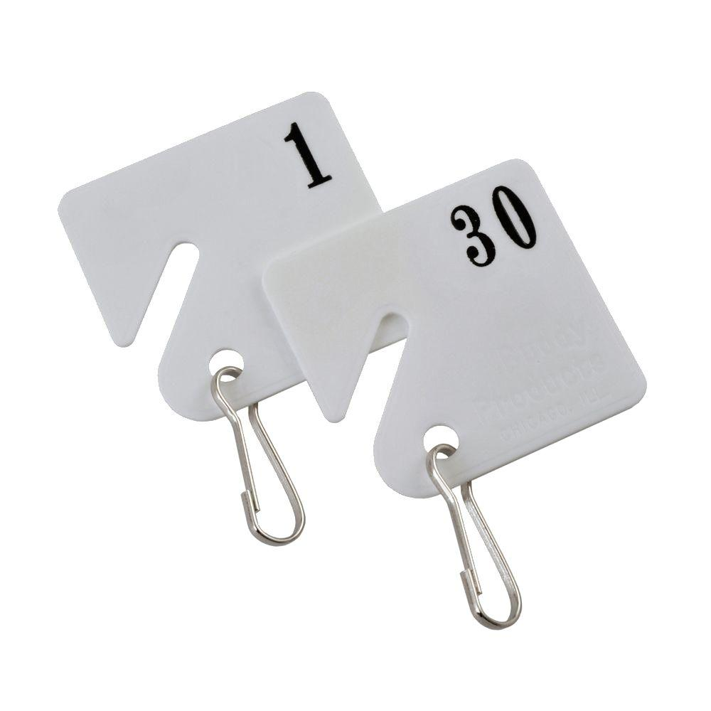 Buddy Products Plastic Key Tags Numbered 1 to 30
