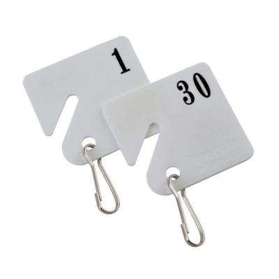Plastic Key Tags Numbered 1 to 30