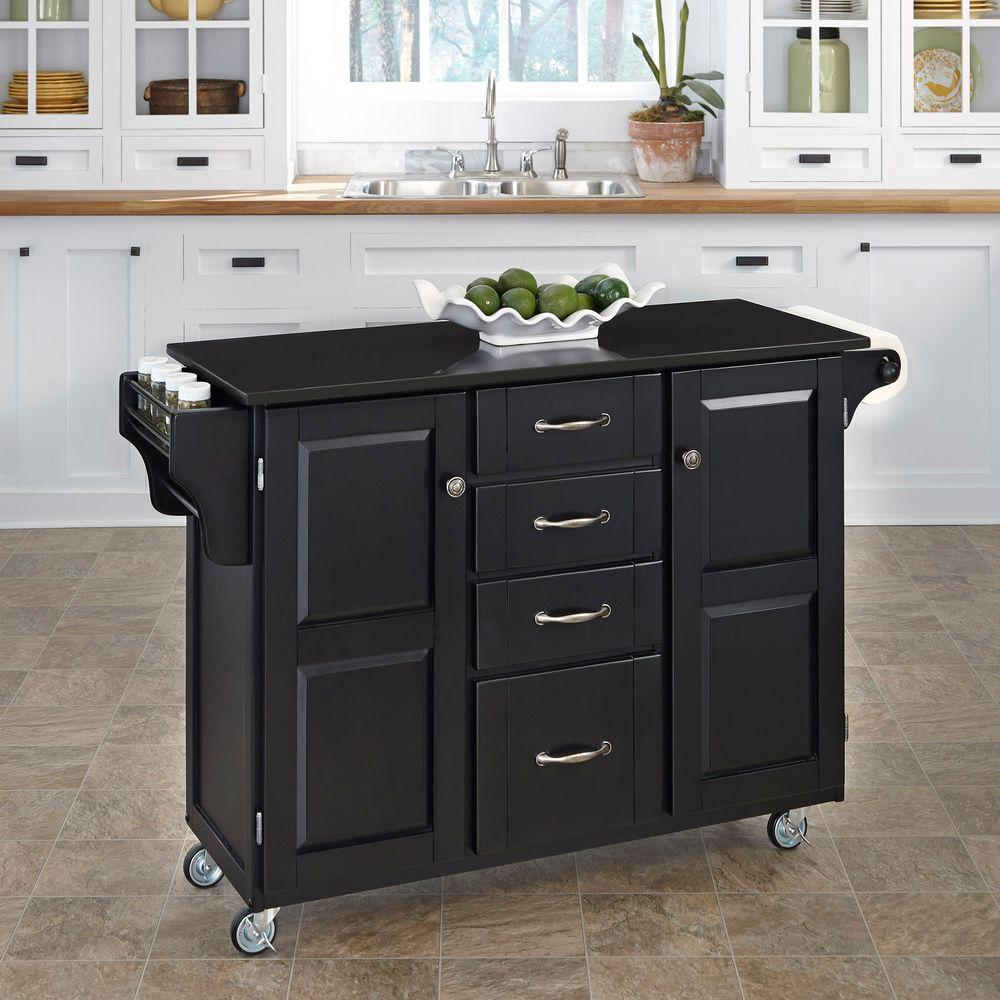Create-a-Cart Black Kitchen Cart With Black Granite Top
