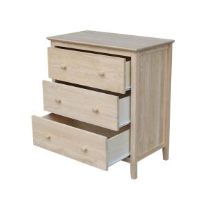 International Concepts Brooklyn 3 Drawer Unfinished Wood