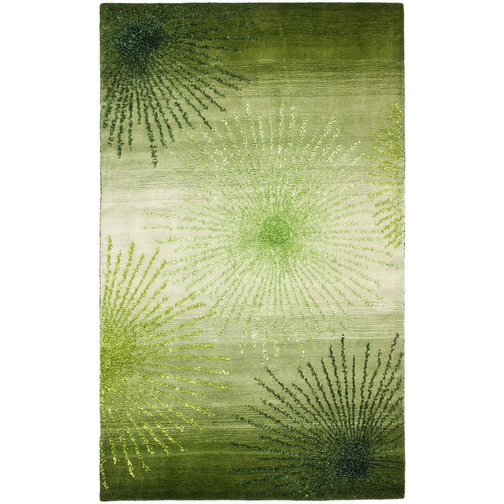 Soho Green/Multi Wool 3 ft. 6 in. x 5 ft. 6