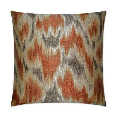 Watermark Orange Feather Down 24 in. x 24 in. Standard Decorative Throw Pillow