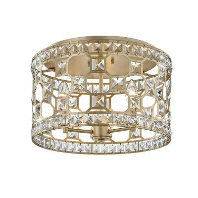 Paris 10.75 in. 3-Light Champagne Gold Flush Mount