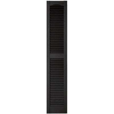 12 in. x 64 in. Louvered Vinyl Exterior Shutters Pair in #002 Black