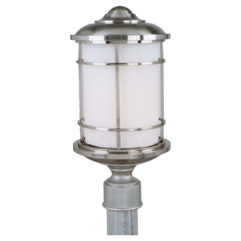 Lighthouse 1-Light Brushed Steel Outdoor Post Light
