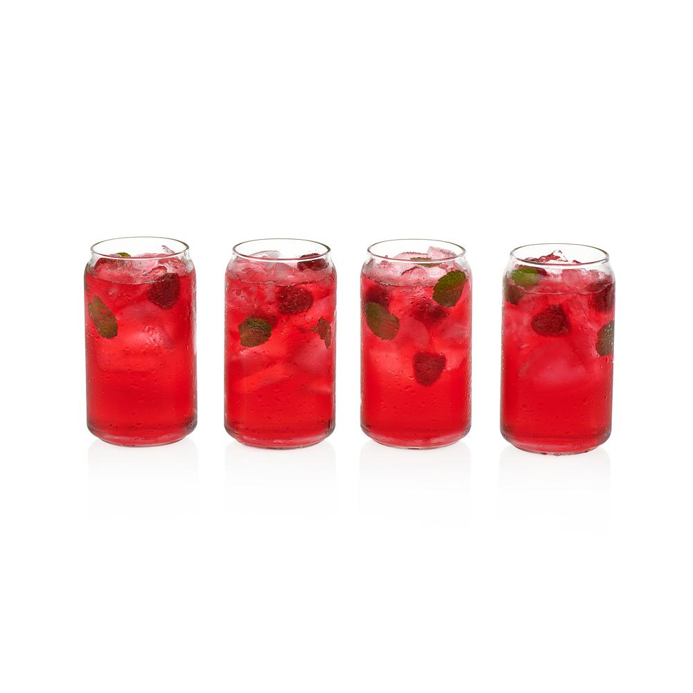 Classic Can 16 oz. 4-Piece Glass Tumbler Set