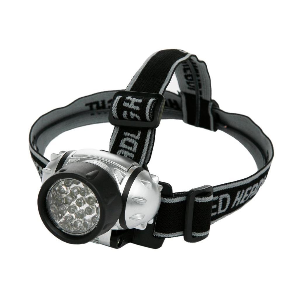 Battery Operated LED Lycra Headband Light - Black