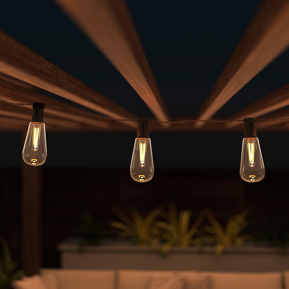 Pure Garden 10 Light 14 5 Ft Outdoor Solar Vintage Style Integrated Led String Lights Hw1500124 The Home Depot