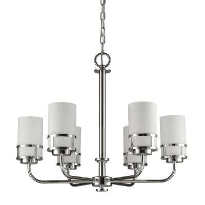 Alexis Indoor 6-Light Polished Nickel Chandelier with Glass Shades