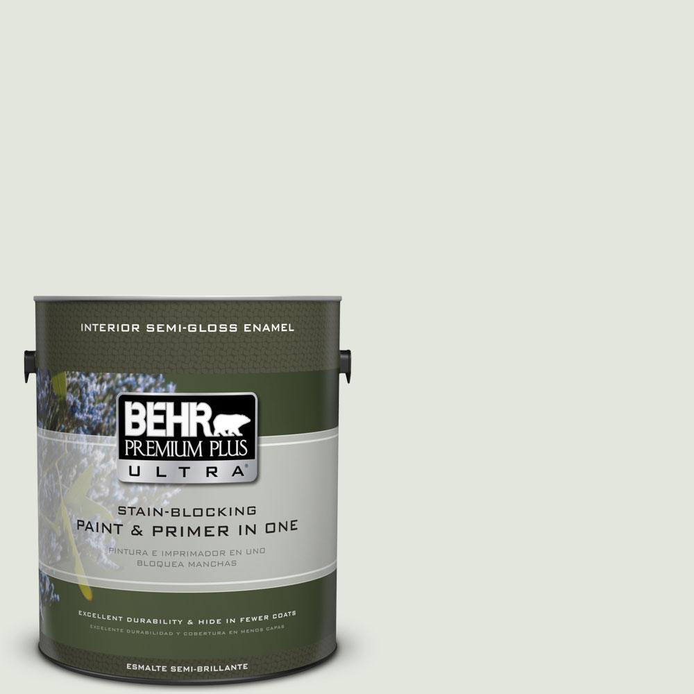 BEHR Premium Plus Ultra 1-gal. #BL-W6 Whispering Waterfall Semi-Gloss Enamel Interior Paint