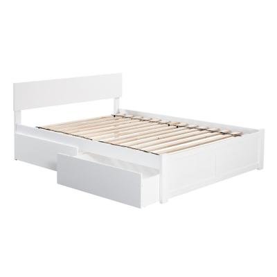 Orlando White Queen Platform Bed with Flat Panel Foot Board and 2 Urban Bed Drawers