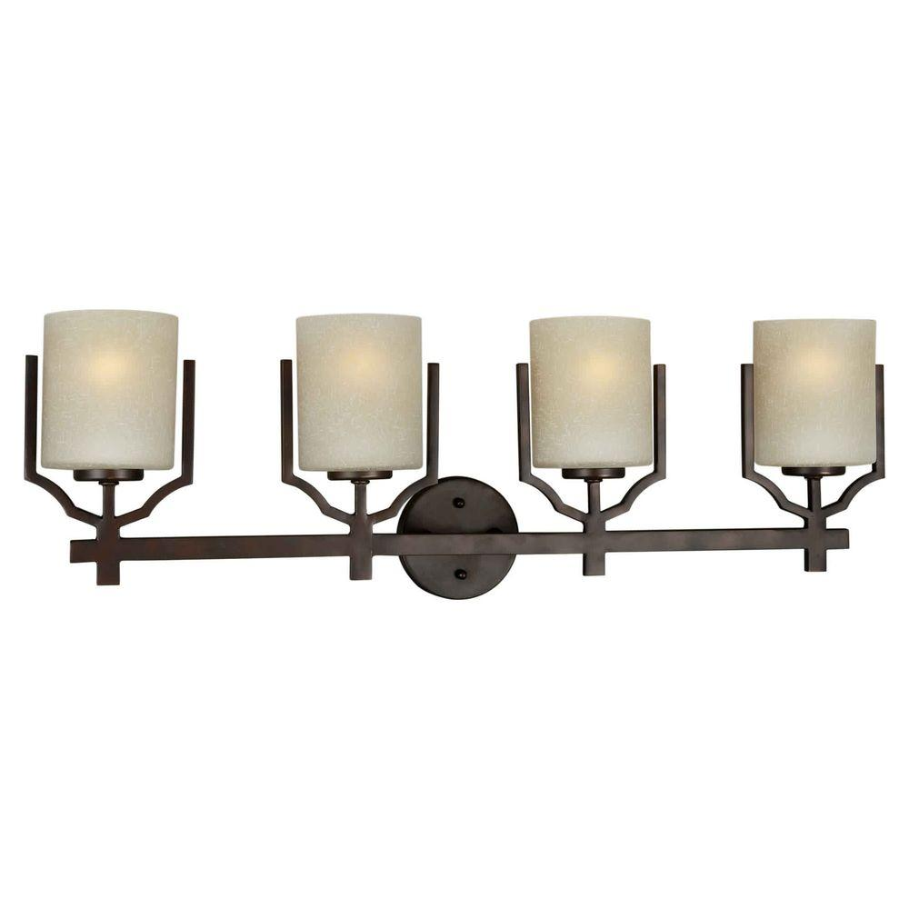 Talista 4-Light Antique Bronze Bath Vanity with Umber Linen Glass Shade
