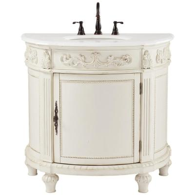 Chelsea 37 in. W Bath Vanity in Antique White with Marble Vanity Top in White