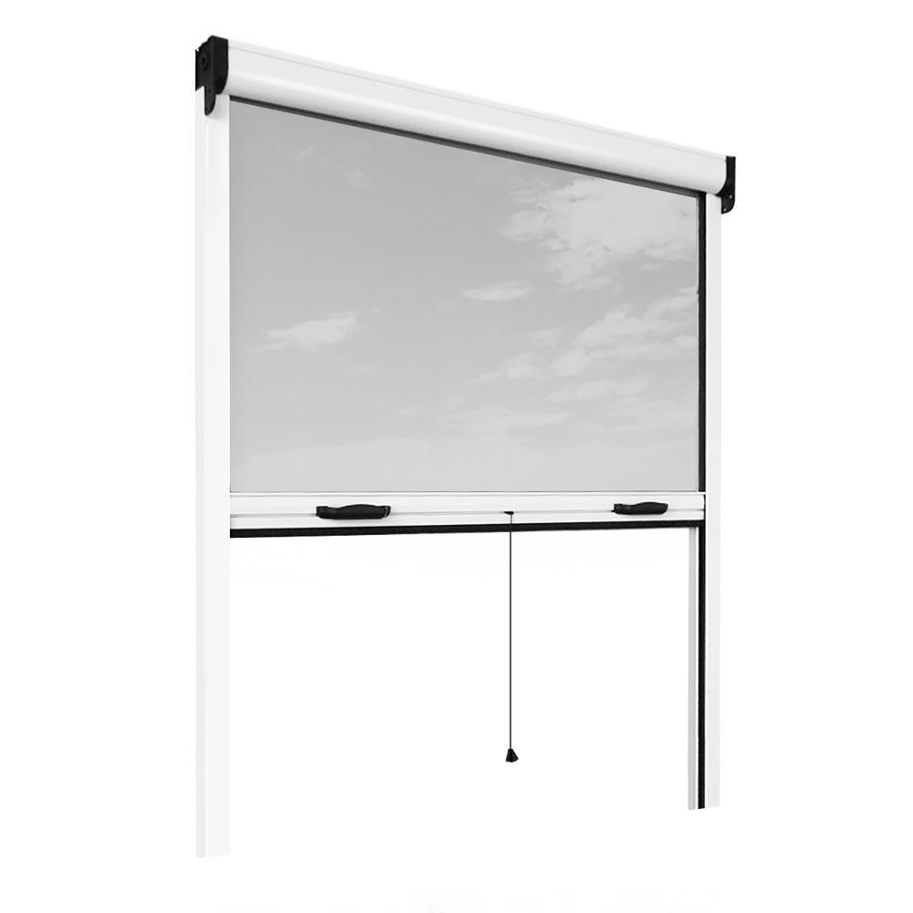 Retractable Bug Screen 55 in. x 67 in. Adjustable Width/Height White Aluminum Fiberglass Vertically Retractable Window Insect Screen/Frame Kit