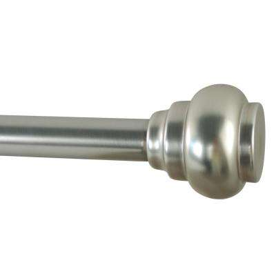 72 in. - 144 in. Adjustable Length 1 in. Dia Single Rod Set with Decorative Finials in Brushed Nickel
