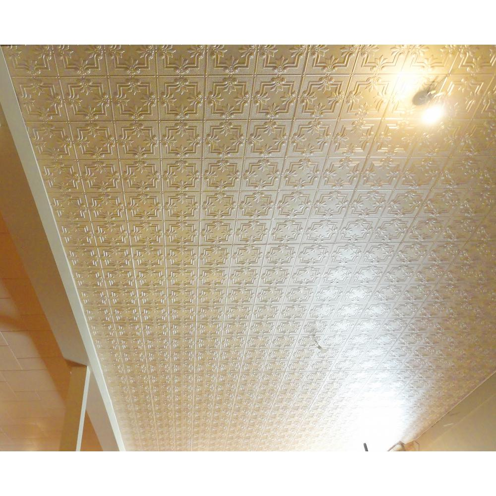 Dimensions Faux 2 ft. x 4 ft. Creme Tin Style Ceiling