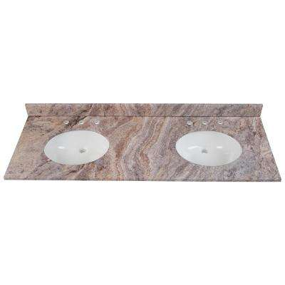 61 in. W x 22 in. D Stone Effects Double Sink Vanity Top in Cold Fusion with White Sinks