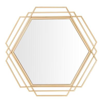 Medium Hexagonal Gold Modern Accent Mirror (26 in. H x 27 in. W)