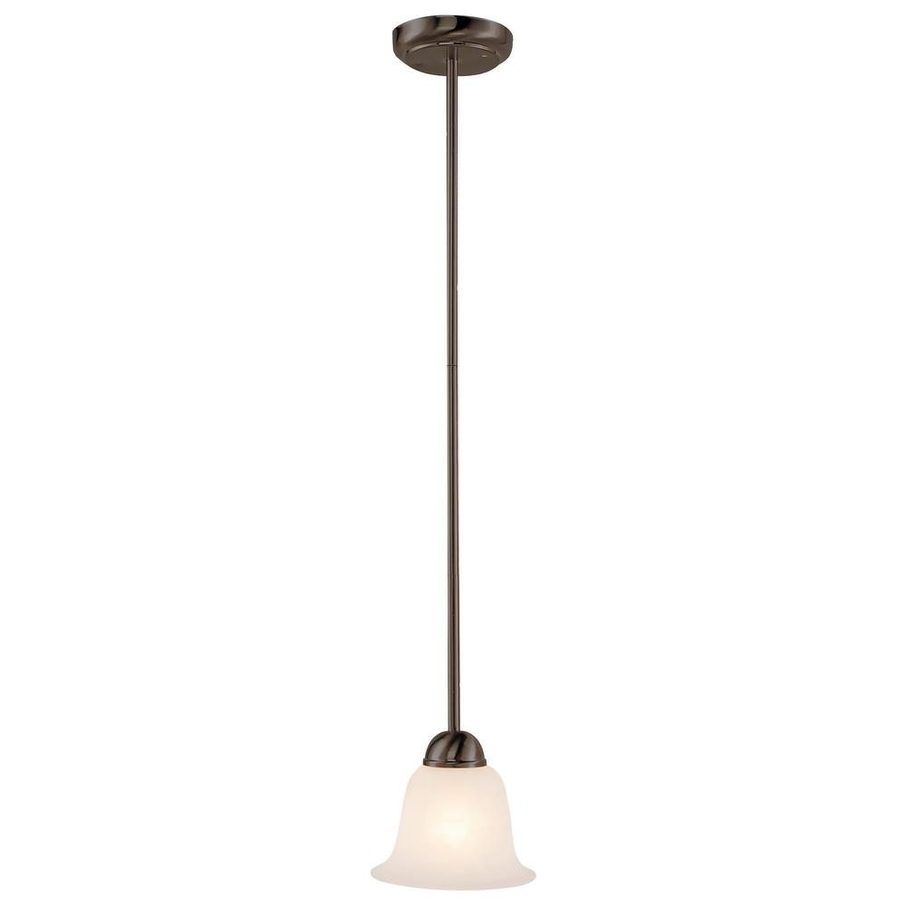 Aspen 1-Light Rubbed Oil Bronze Pendant with Frosted Shade