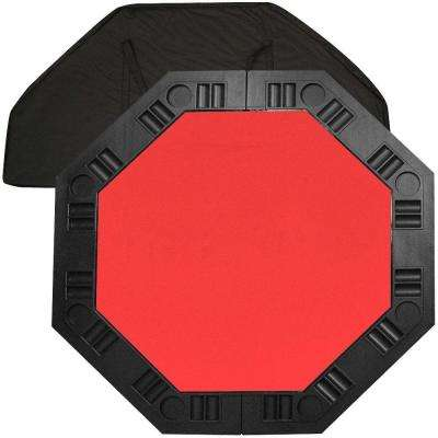 8 Player Octagonal 48 in. Red Felt Table Top