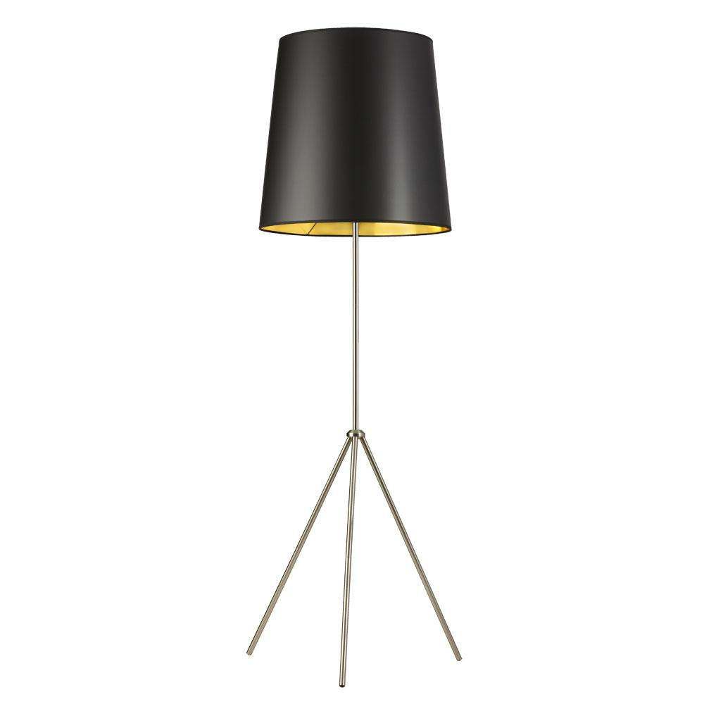 66 in. Satin Chrome Floor Lamp with Black on Gold Shade