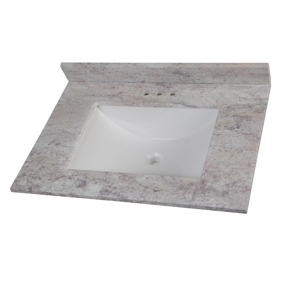 W Stone Effects Vanity Top In Winter Mist With White Sink