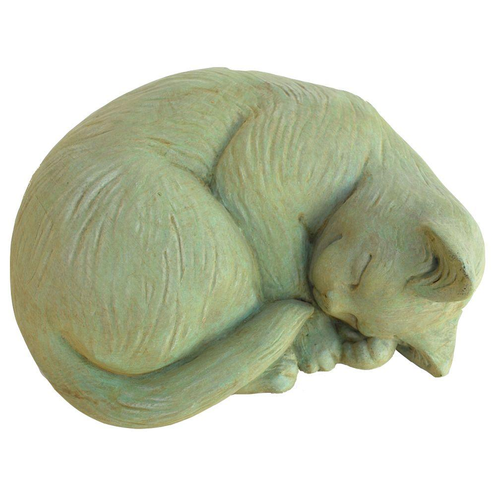 Attirant Cast Stone Small Curled Cat Garden Statue Weathered Bronze