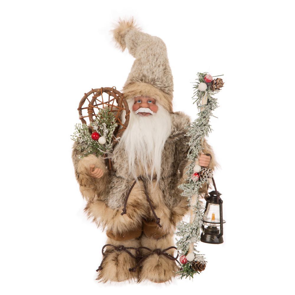 12 in. H Faux Fur Christmas Santa Claus Figurine