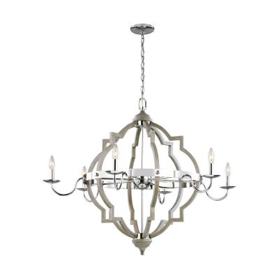 Sea Gull Lighting Socorro 6-Light Large Washed Pine Rustic Farmhouse Hanging Candlestick Chandelier