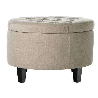 Emma Textured Natural Storage Ottoman