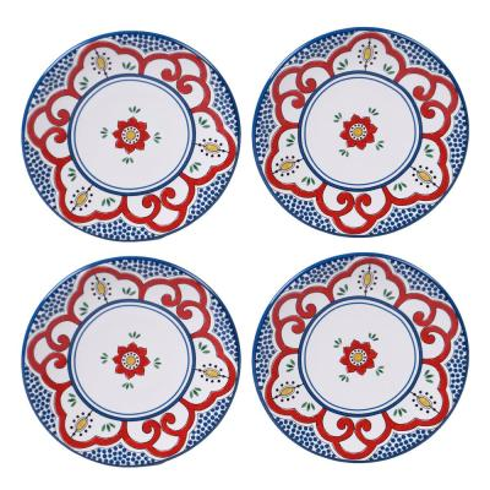 Tangier 4-Piece Multi-Colored 6 in. Square Canape Plate Set