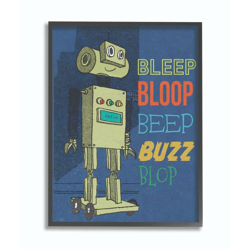 "Stupell Industries ""Beep Bloop Cartoon Robot Kids Nursery Design""by The Saturday Evening Post Framed Fantasy Wall..."