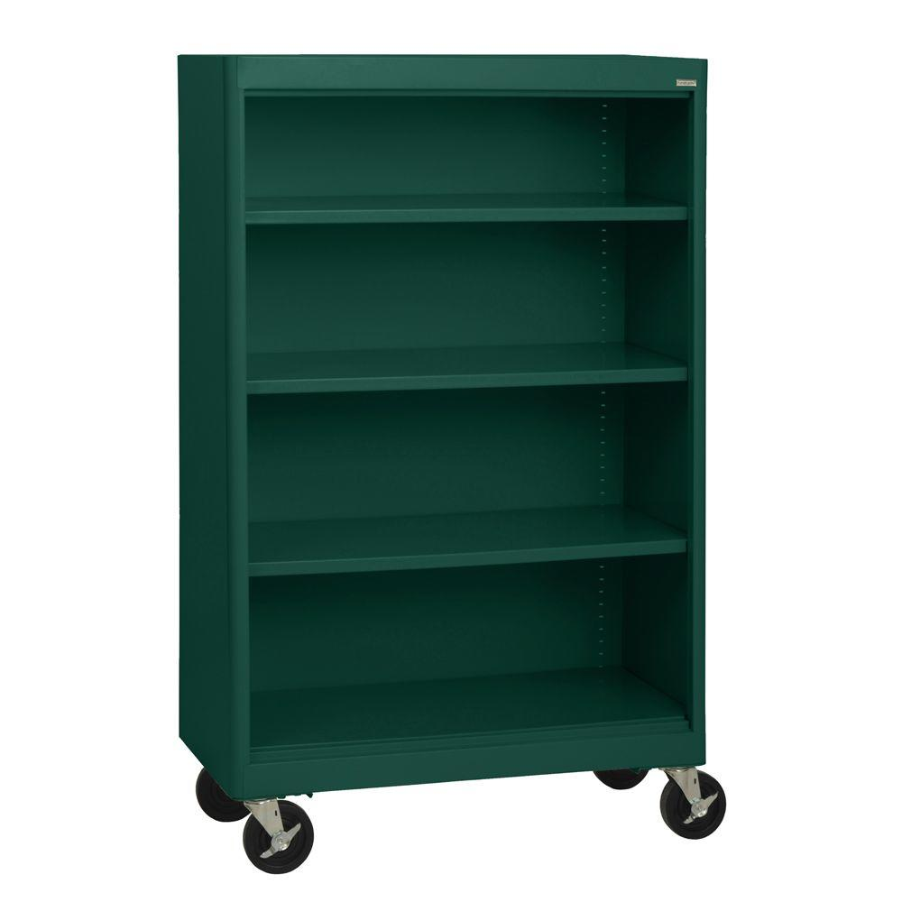 Sandusky Radius Edge Forest Green Mobile Steel Bookcase