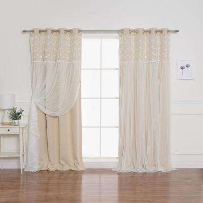 Beige 96 in. L Irene Lace Overlay Blackout Curtain Panel (2-Pack)