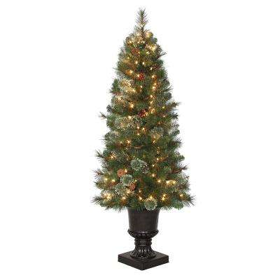4.5 ft. Pre-Lit LED Alexander Pine Potted Artificial Christmas Tree with 263 Tips and 150 Warm White Lights