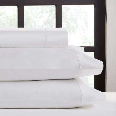 4-Piece White Cotton King Sheet Set