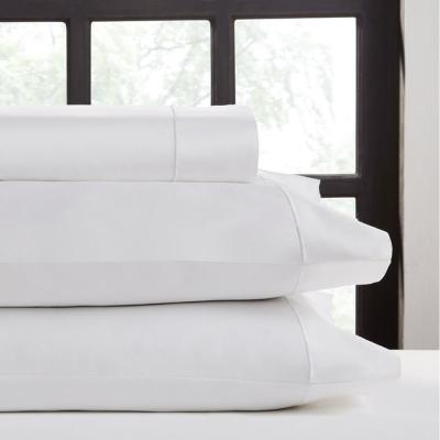 4-Piece White Solid 620 Thread Count Cotton King Sheet Set