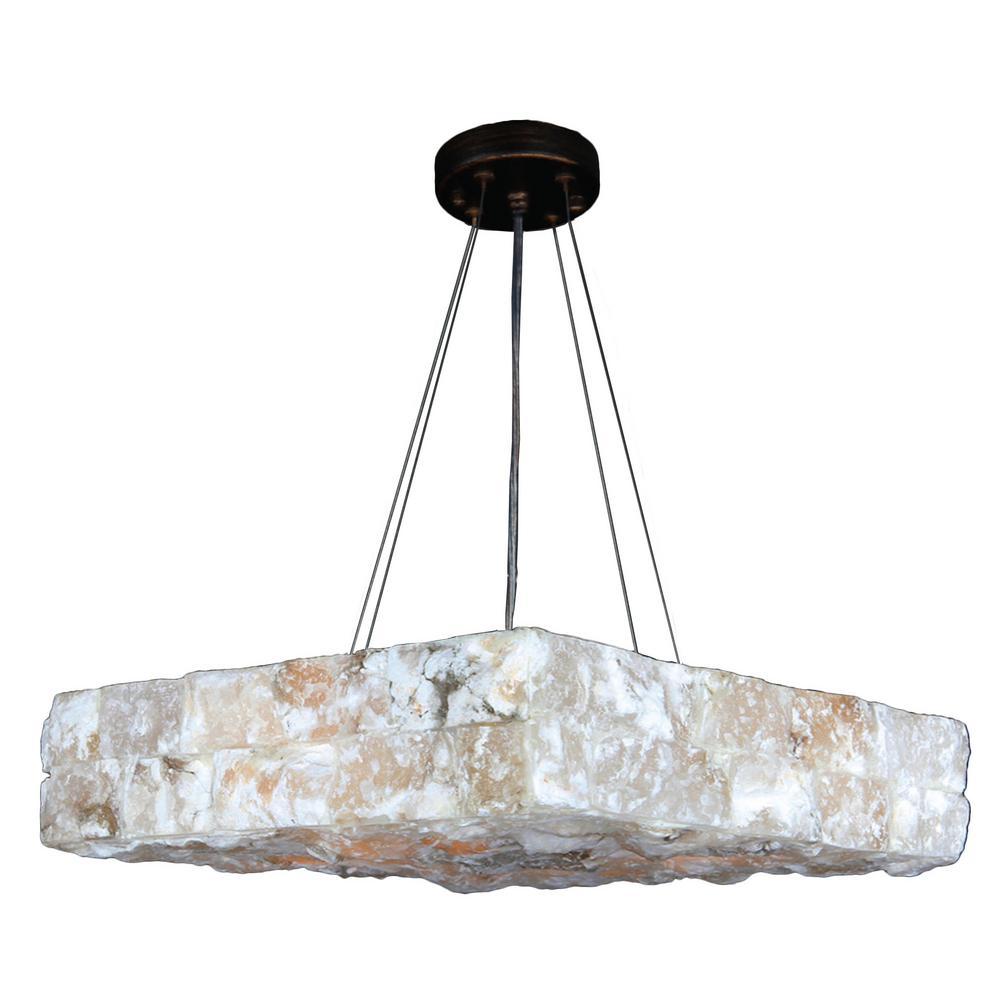 Worldwide Lighting Pompeii 5 Light Flemish Br Natural Quartz Large Square Pendant