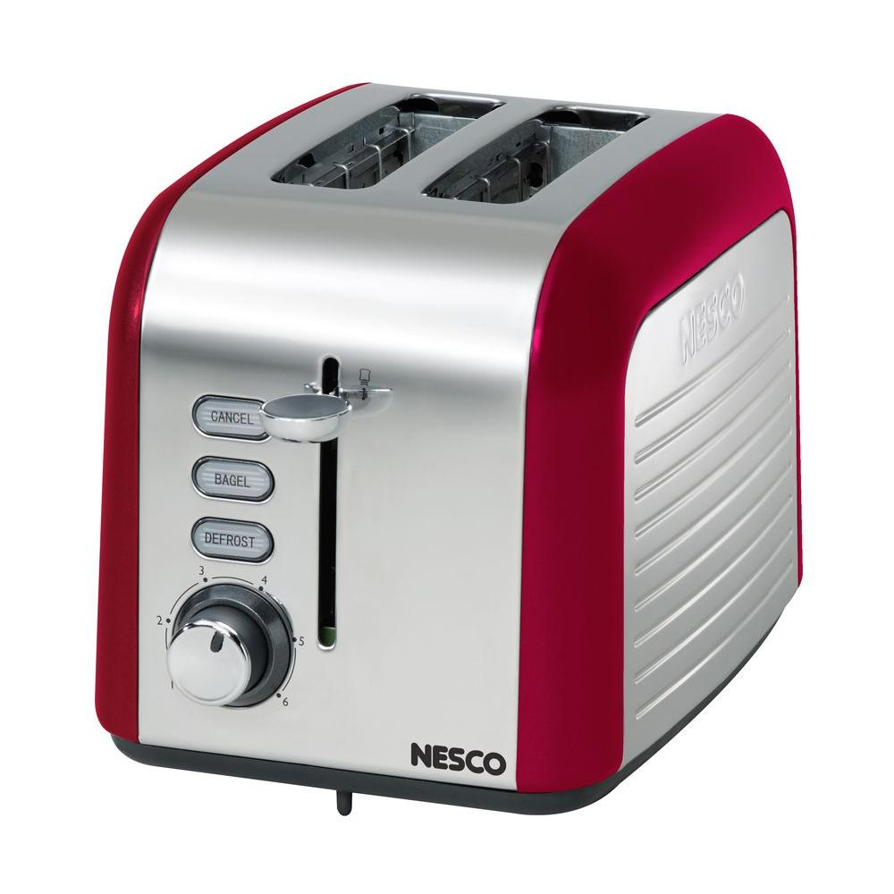 Nesco 2-Slice Red and Chrome Toaster