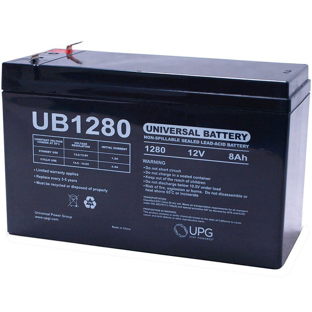UPG 12-Volt 8 Ah F1 Terminal Sealed Lead Acid (SLA) AGM Rechargeable Battery