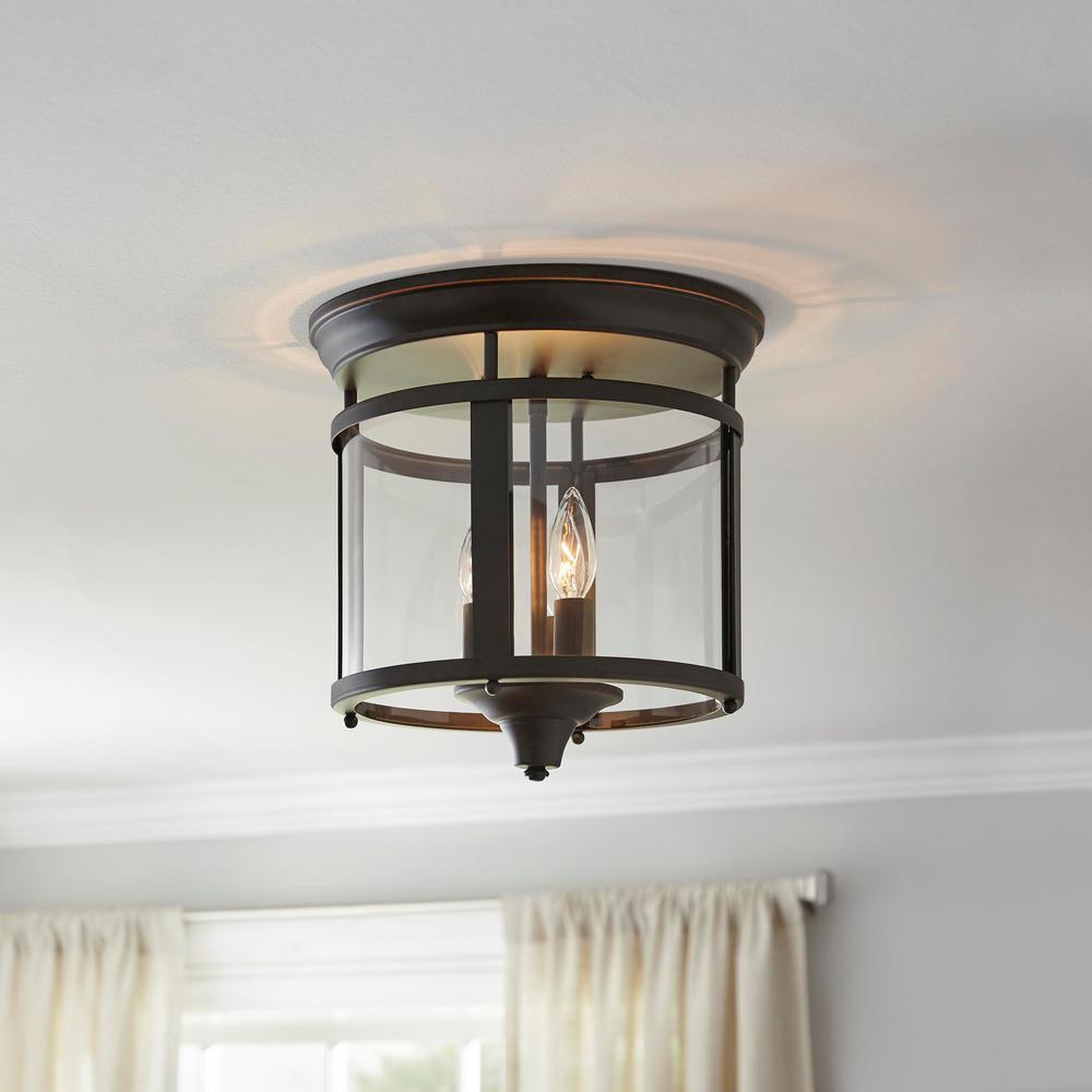 3-Light Bronze 12.25 in. Flush Mount Ceiling Light