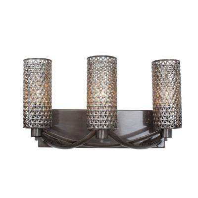 Casablanca 3-Light Steel Bath Vanity Light with Recycled Steel Mesh