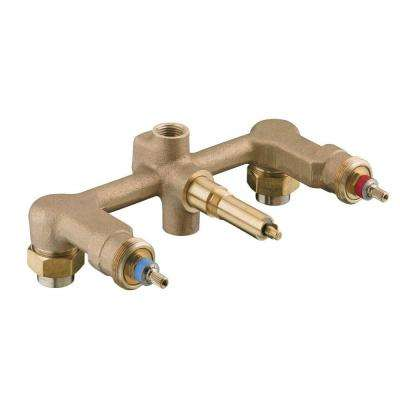 Widespread 1/2 in. Ceramic In-Wall 3-Handle Valve System with Integral Diverter and 8 in. Centers